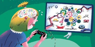 Illustration of a blonde girl holding a video game controller and looking at a screen with a bunch of gears on it. We can also see inside her head where here are squiggles.