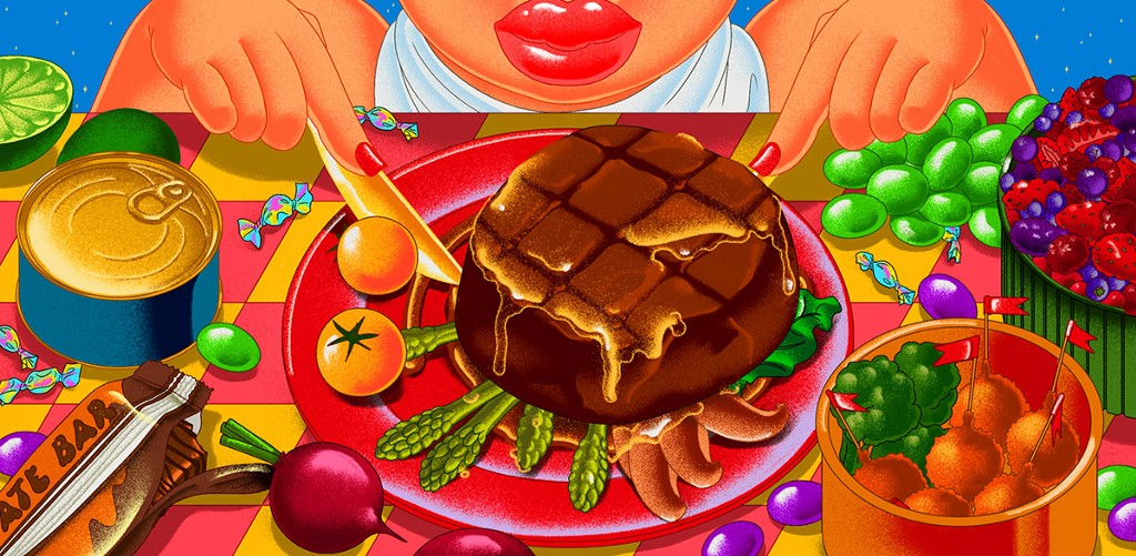 Brightly colored illustration of a woman in front of a spread of food including a steak, tomatoes, grapes and more.