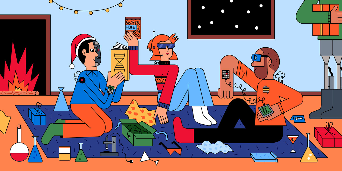 Illustration of biohackers opening holiday gifts on the floor in front of a fire.