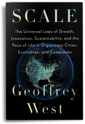 "The book cover of Geoffrey West's ""Scale,"" depicting a black background with a globe showing North America at night."