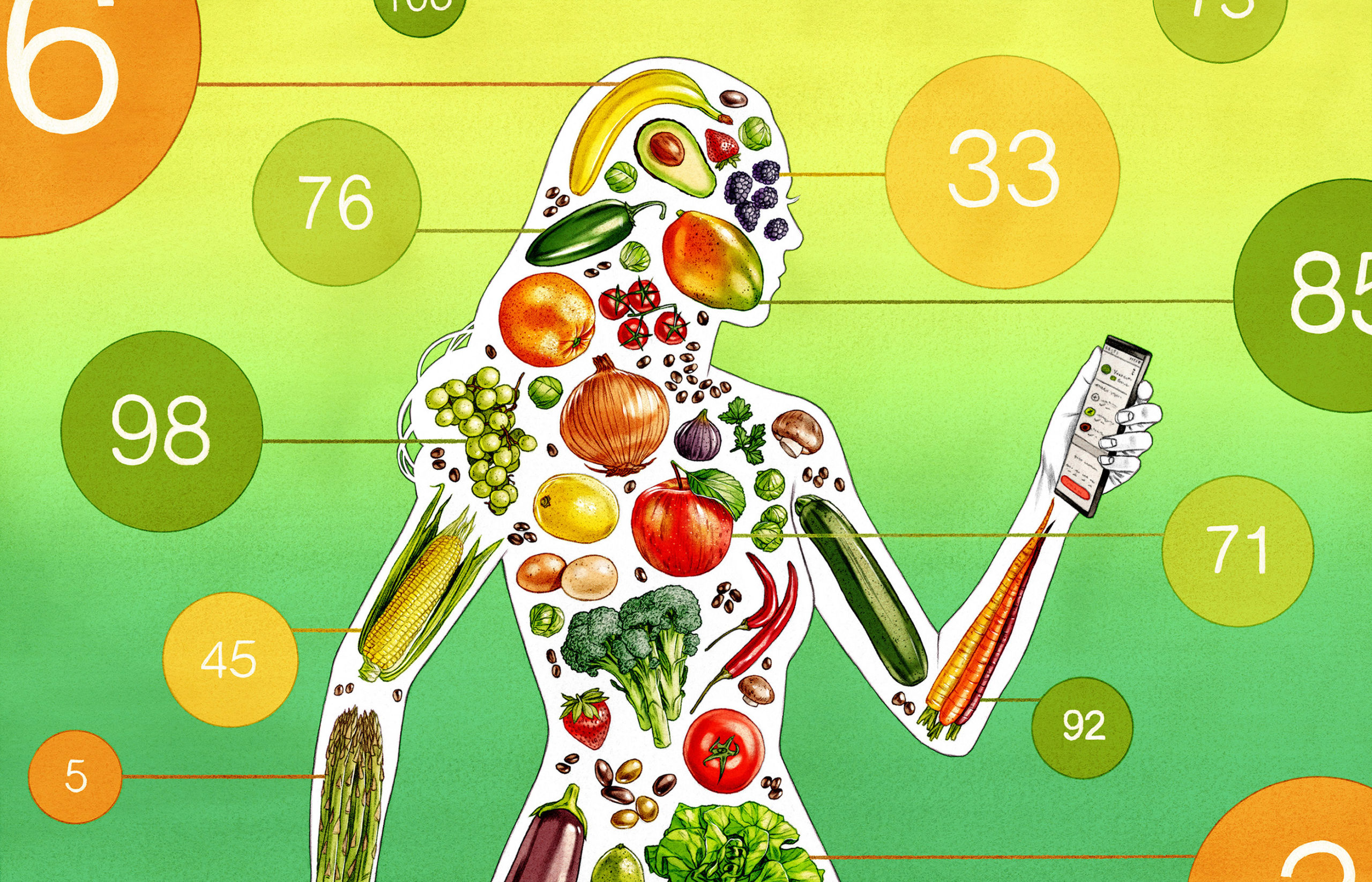 A conceptual illustration of a person made from food.
