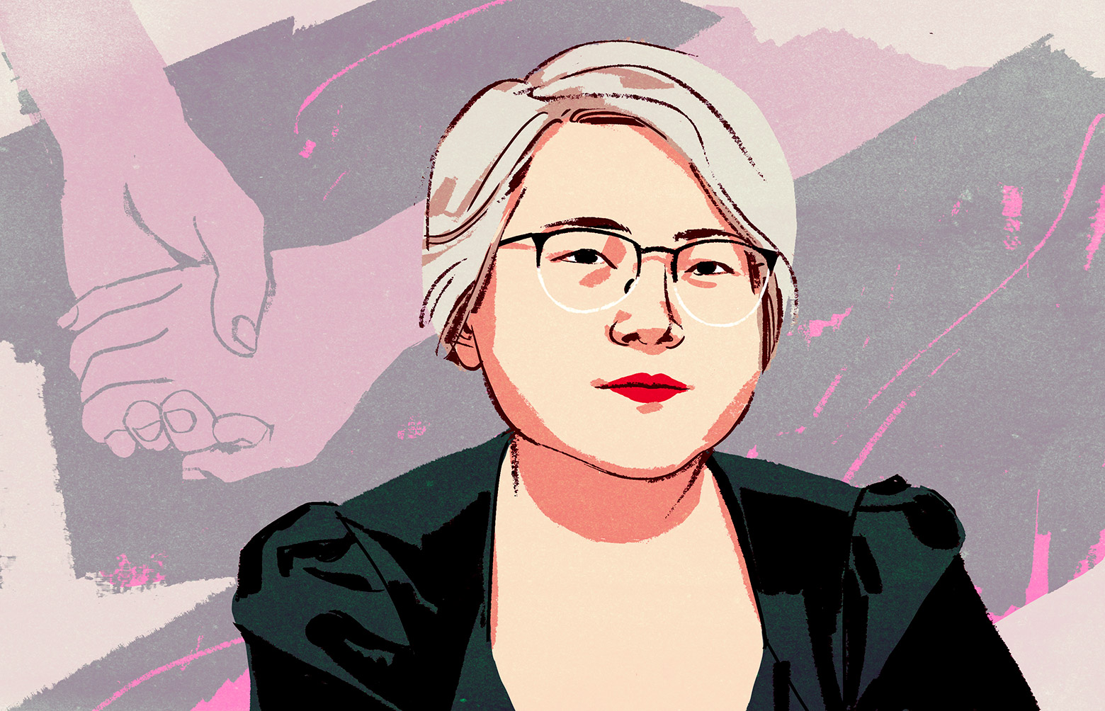 An illustrated portrait of Angela Chen.