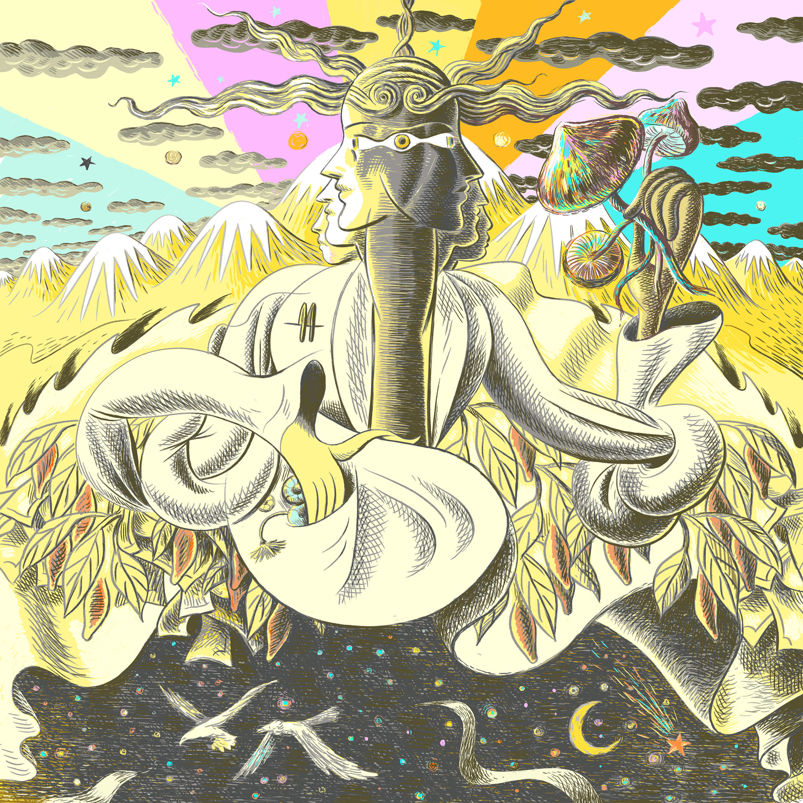 Psychedelic illustration of person holding mushrooms, in the mountains