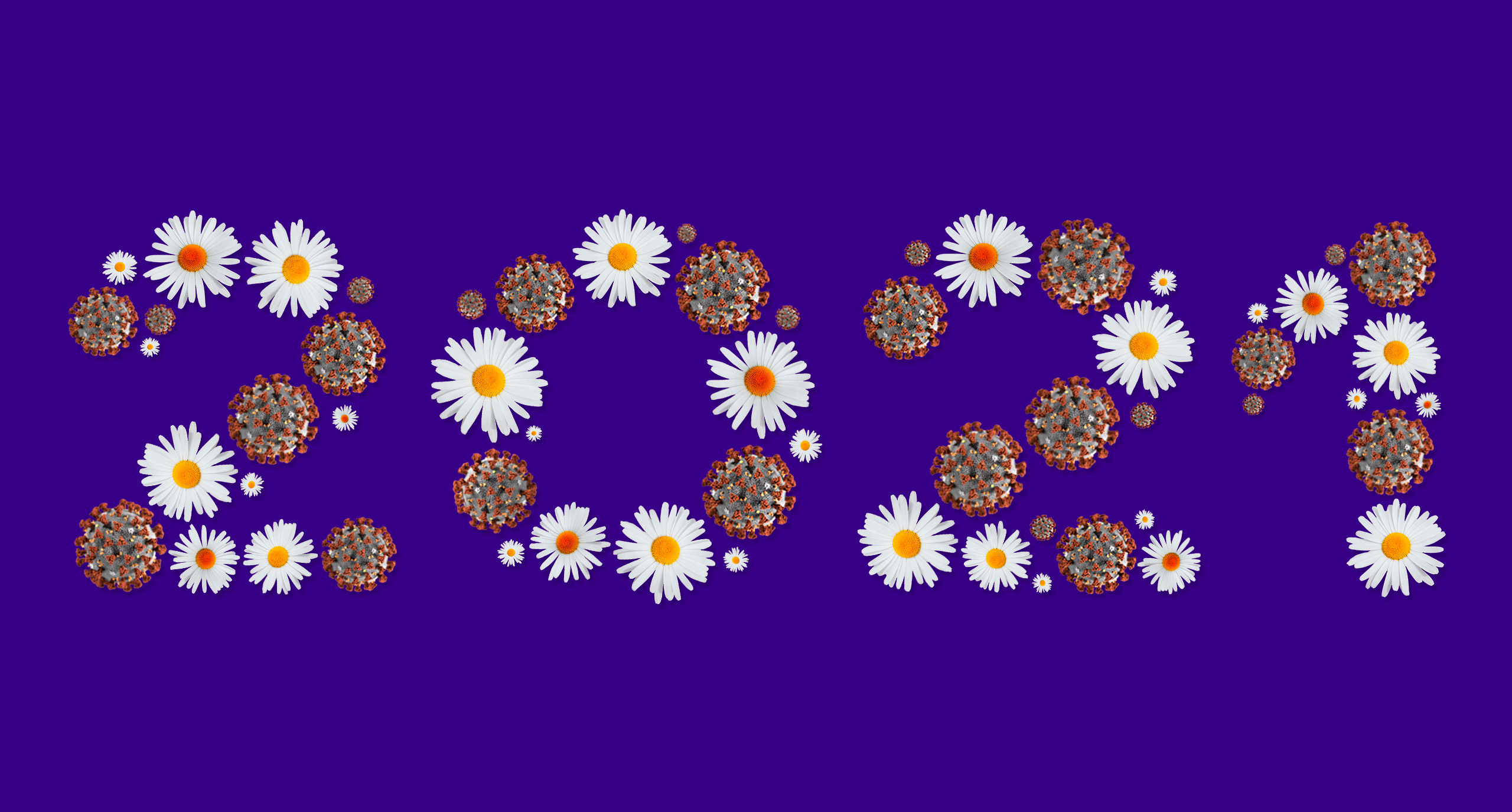 2021 written with white daisies and virions of Covid-19.