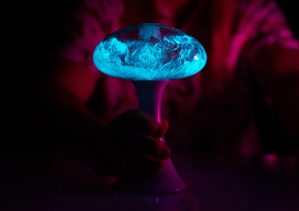 A lamp that lights up with bioluminescent single celled organisms.