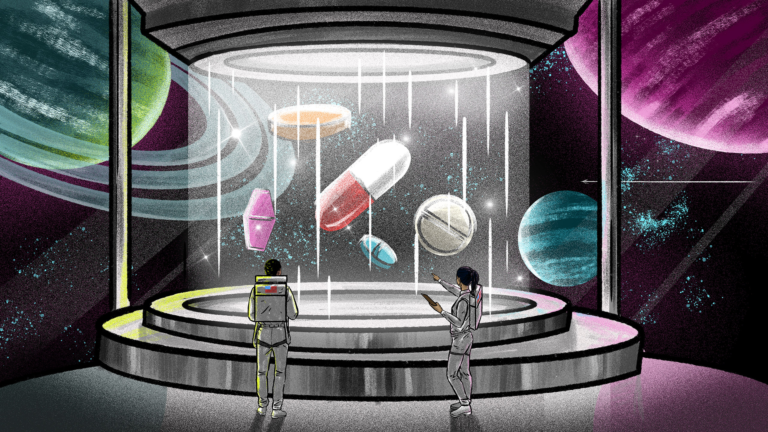 A futuristic illustration of two astronauts growing medicine in pill form with deep space in the background.