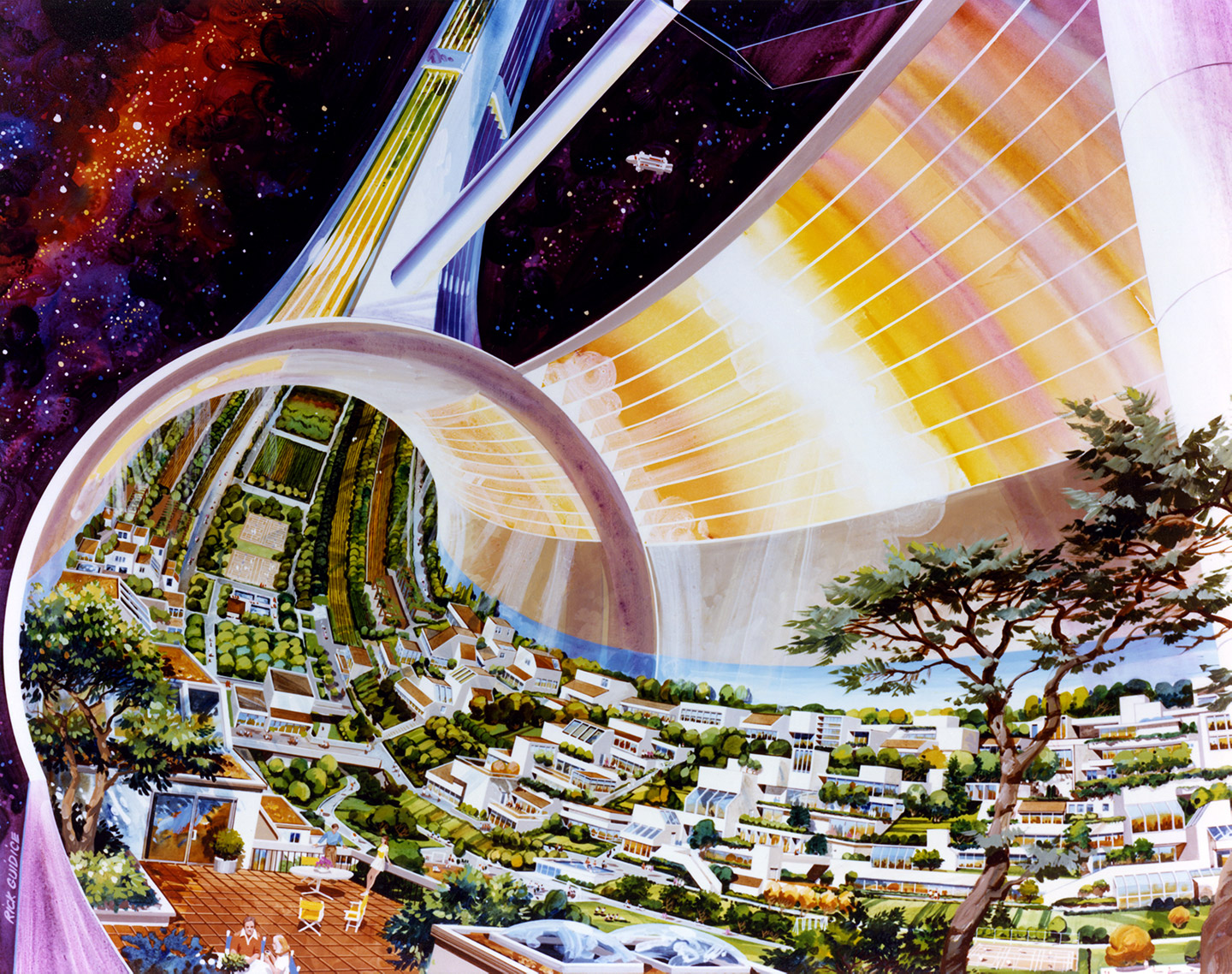 A painting from the 1970's envisioning a space colony in outer space.
