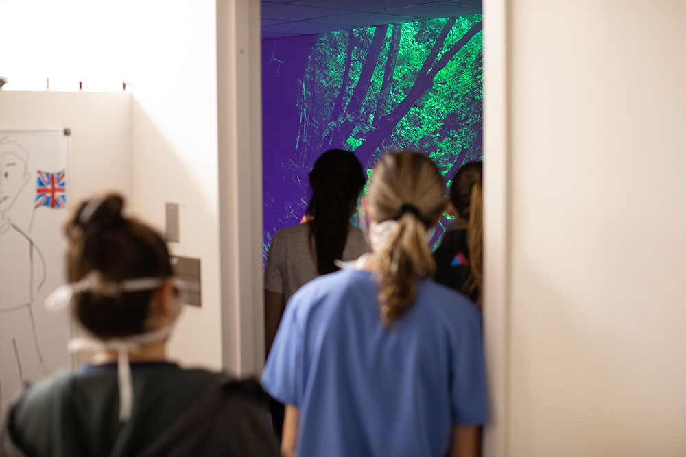 Nurses moving into a room to enjoy projections of nature.