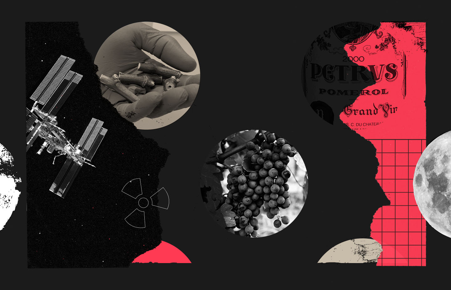 A collage of space and wine focused iconography and imagery.