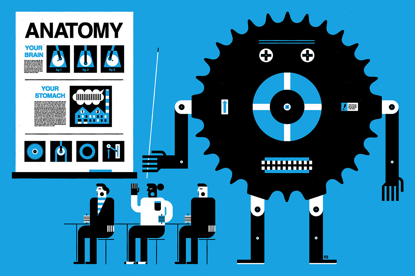 An illustration of a gear teaching students anatomy with metaphors.