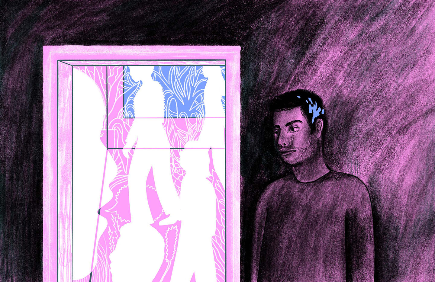 An illustration of a Parkinson's sufferer experiencing hallucinations.