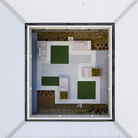 An aerial photograph of a courtyard at Tiaho Mai mental health clinic in Auckland, New Zealand.
